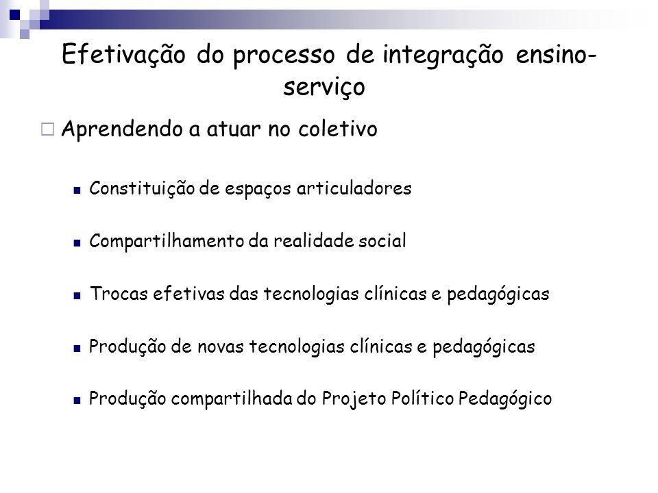 Efetivação do processo de integração ensino-serviço
