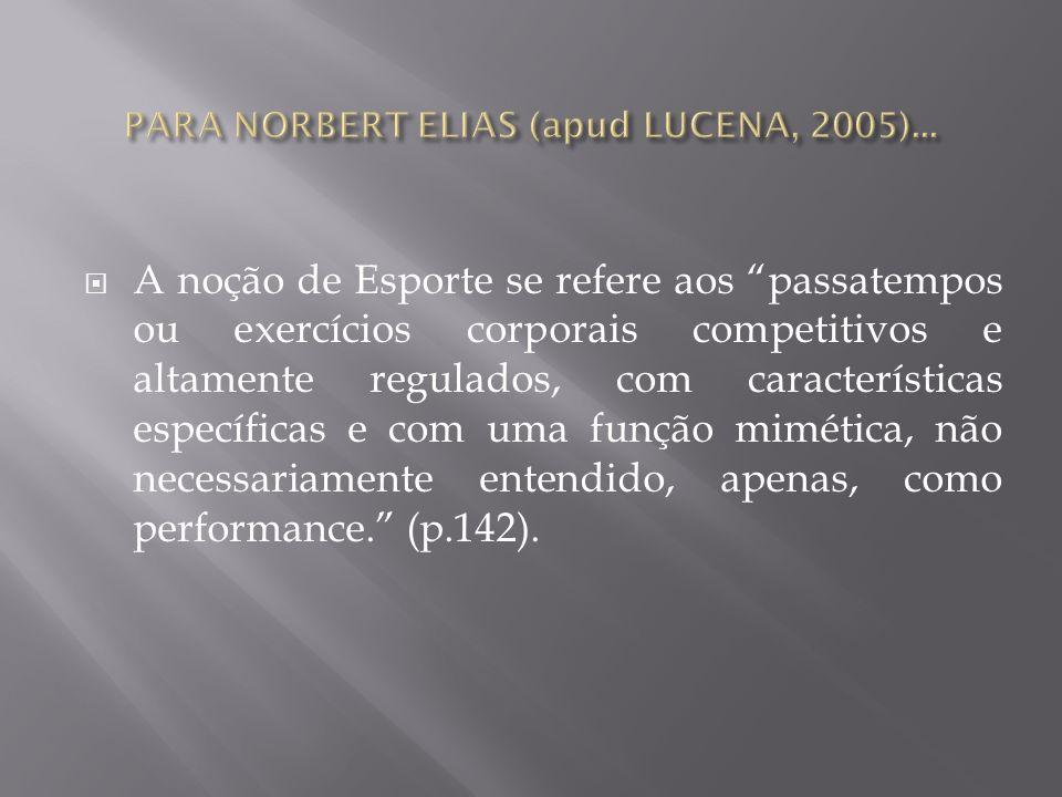PARA NORBERT ELIAS (apud LUCENA, 2005)...