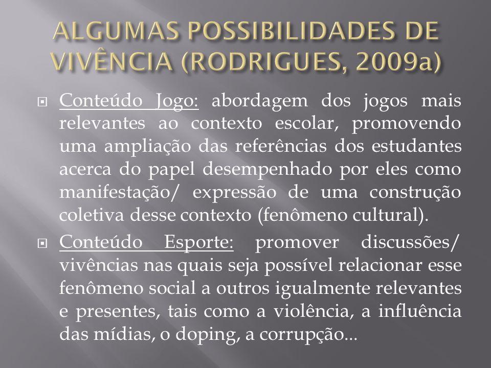 ALGUMAS POSSIBILIDADES DE VIVÊNCIA (RODRIGUES, 2009a)