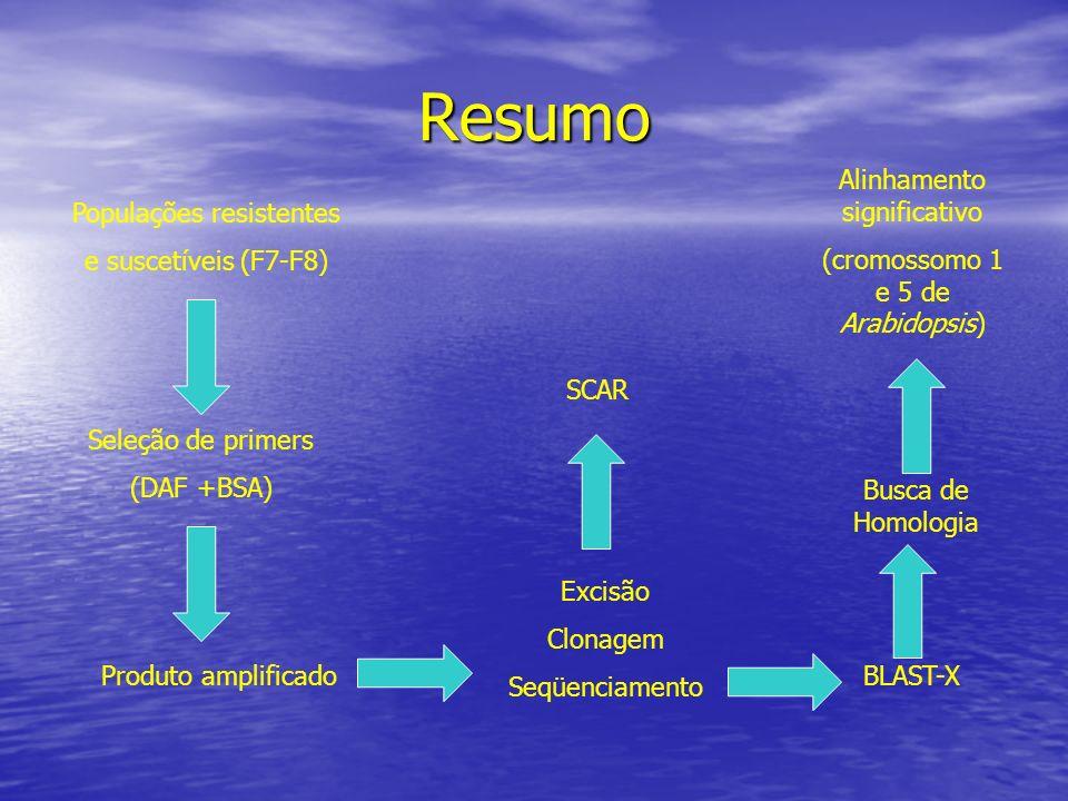 Resumo Alinhamento significativo (cromossomo 1 e 5 de Arabidopsis)