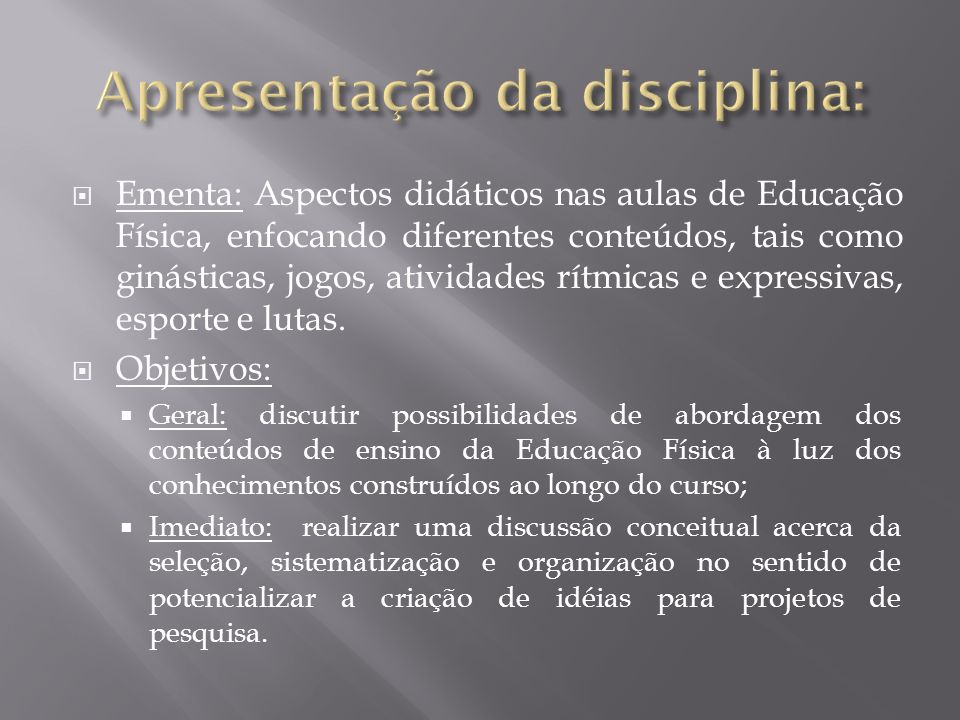 Apresentação da disciplina: