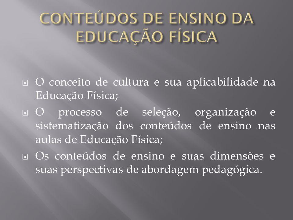 CONTEÚDOS DE ENSINO DA EDUCAÇÃO FÍSICA