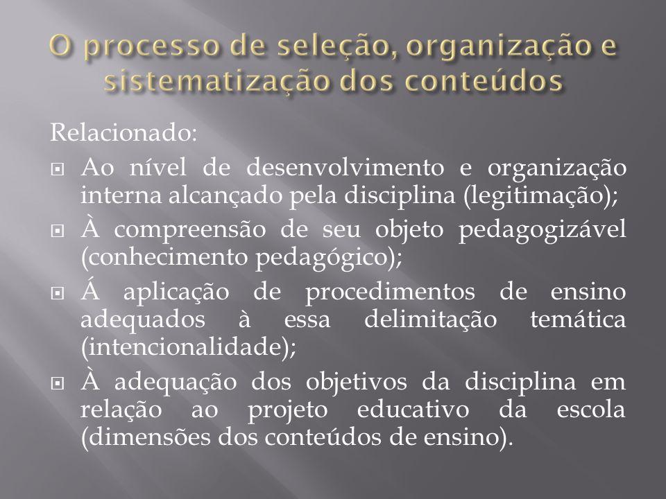 O processo de seleção, organização e sistematização dos conteúdos