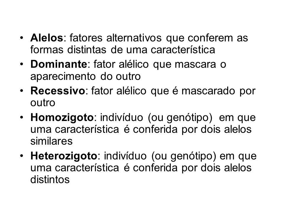 Alelos: fatores alternativos que conferem as formas distintas de uma característica