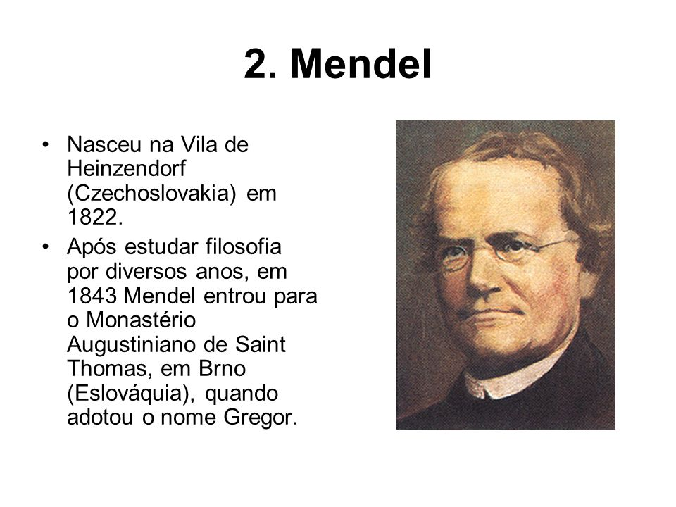 2. Mendel Nasceu na Vila de Heinzendorf (Czechoslovakia) em 1822.