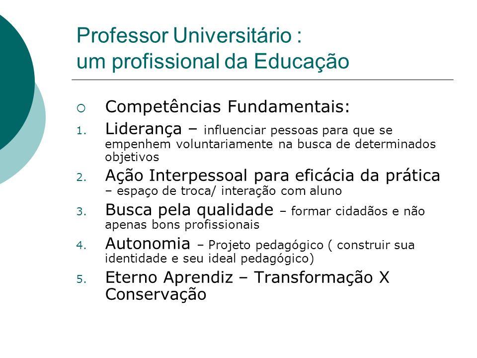 Professor Universitário : um profissional da Educação
