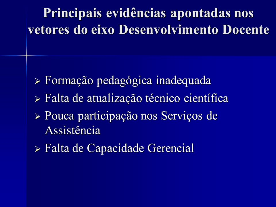 Principais evidências apontadas nos vetores do eixo Desenvolvimento Docente