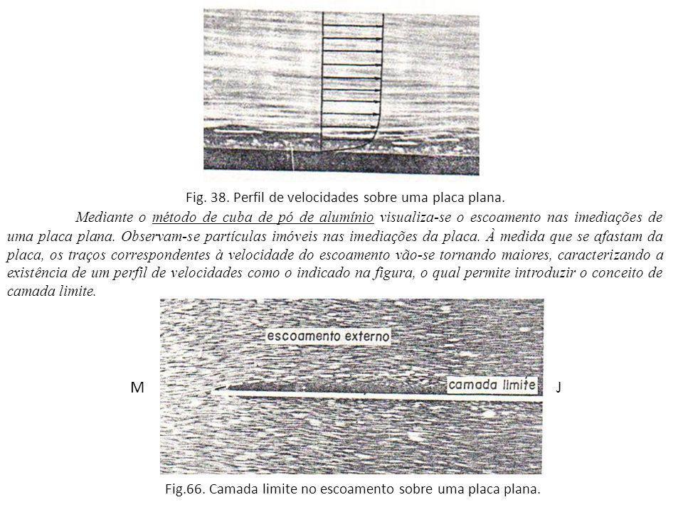 Fig. 38. Perfil de velocidades sobre uma placa plana.