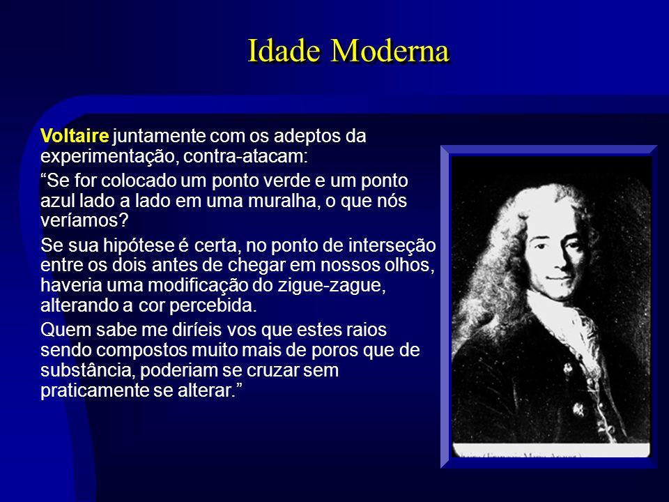 Idade Moderna Voltaire juntamente com os adeptos da experimentação, contra-atacam: