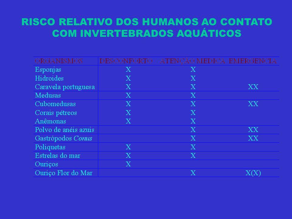 RISCO RELATIVO DOS HUMANOS AO CONTATO COM INVERTEBRADOS AQUÁTICOS