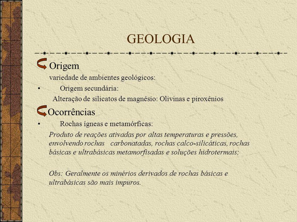 GEOLOGIA Ocorrências Origem secundária: