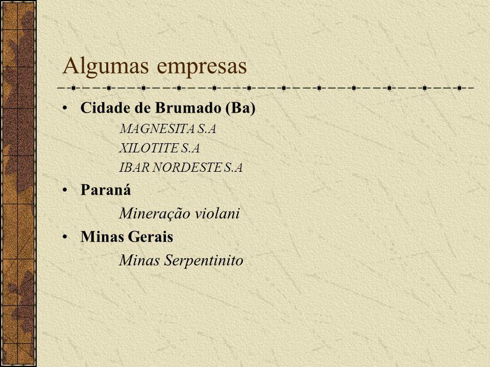 Algumas empresas Cidade de Brumado (Ba) Paraná Mineração violani