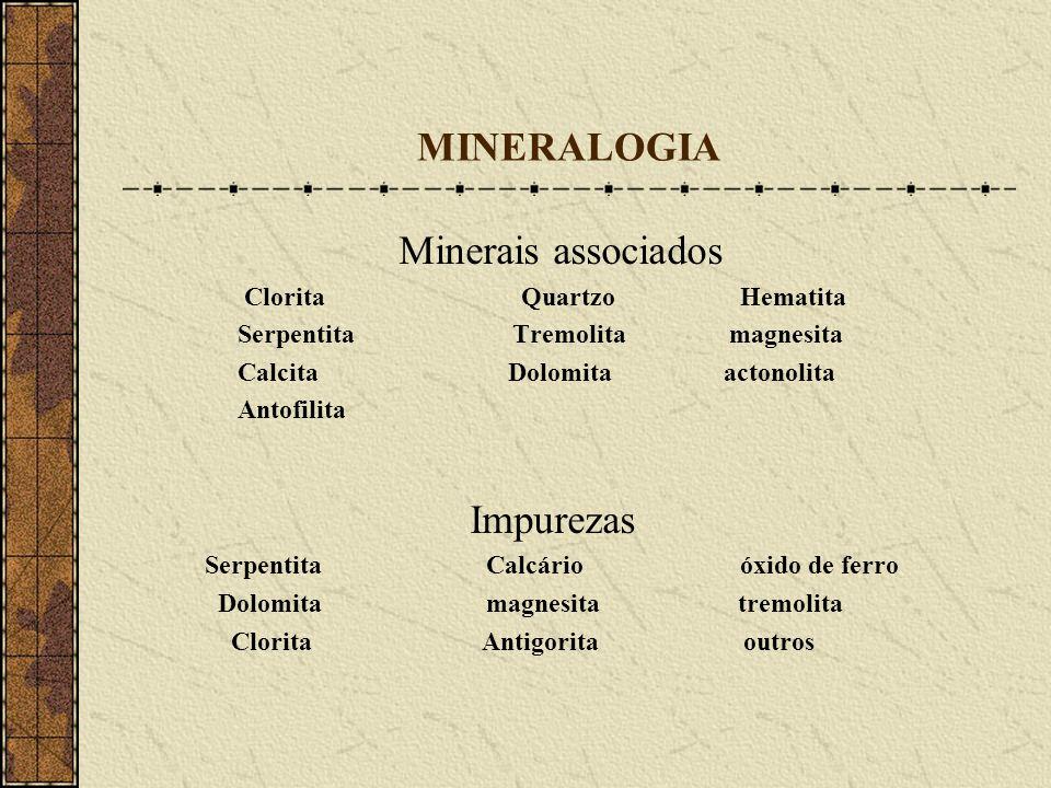MINERALOGIA Minerais associados Impurezas Clorita Quartzo Hematita