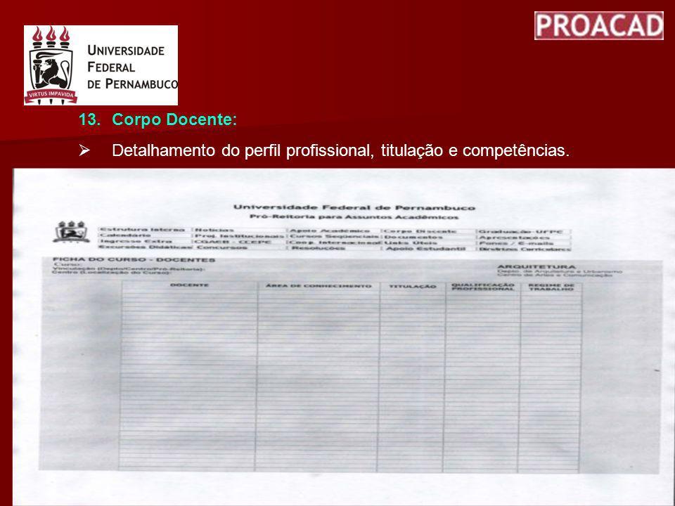 Corpo Docente: Detalhamento do perfil profissional, titulação e competências.