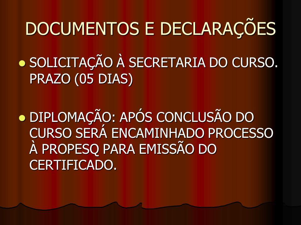 DOCUMENTOS E DECLARAÇÕES
