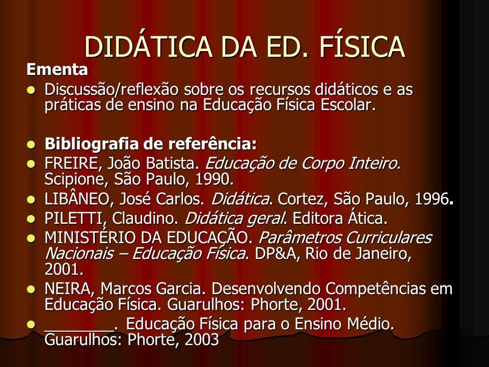 DIDÁTICA DA ED. FÍSICA Ementa