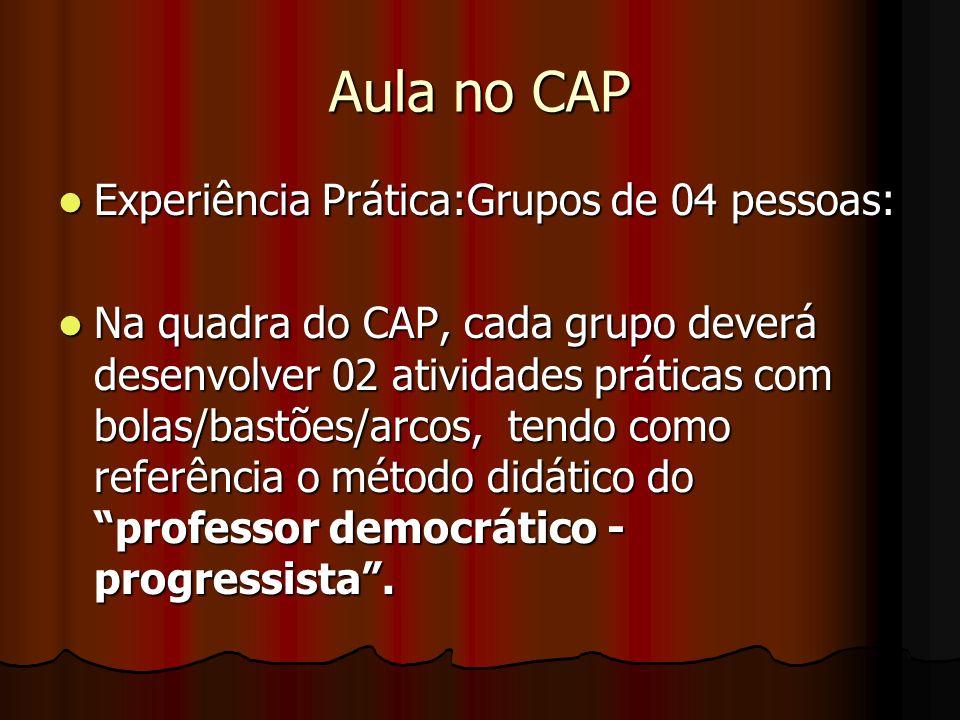 Aula no CAP Experiência Prática:Grupos de 04 pessoas: