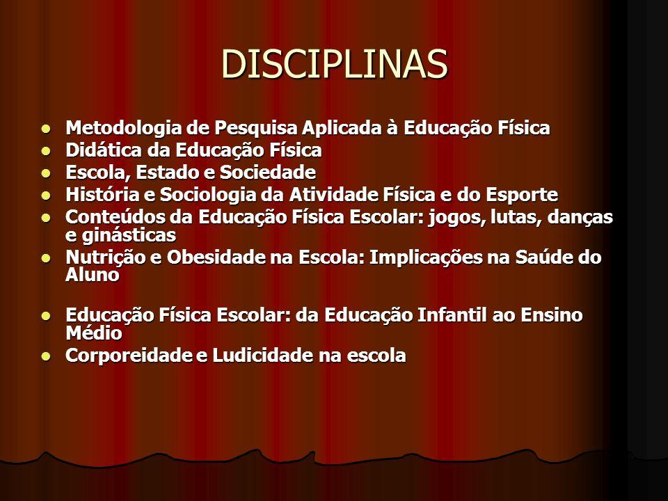 DISCIPLINAS Metodologia de Pesquisa Aplicada à Educação Física