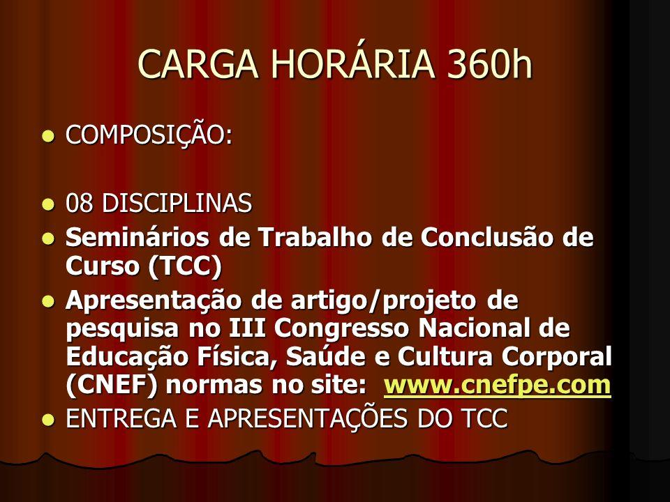 CARGA HORÁRIA 360h COMPOSIÇÃO: 08 DISCIPLINAS