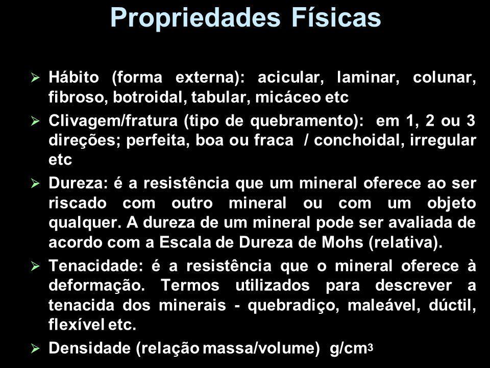 Propriedades Físicas Hábito (forma externa): acicular, laminar, colunar, fibroso, botroidal, tabular, micáceo etc.
