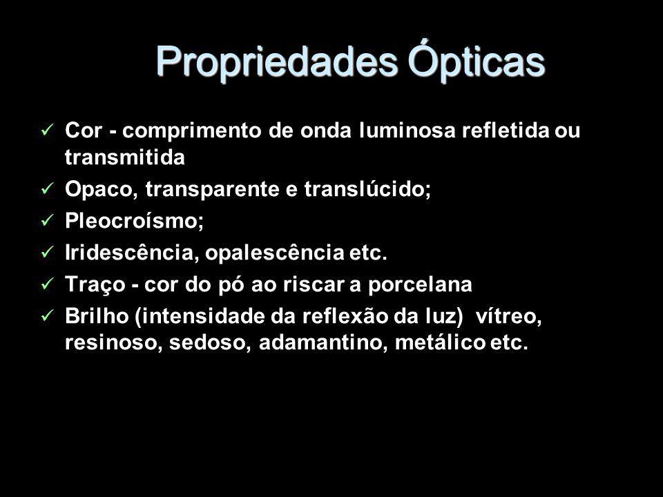 Propriedades Ópticas Cor - comprimento de onda luminosa refletida ou transmitida. Opaco, transparente e translúcido;