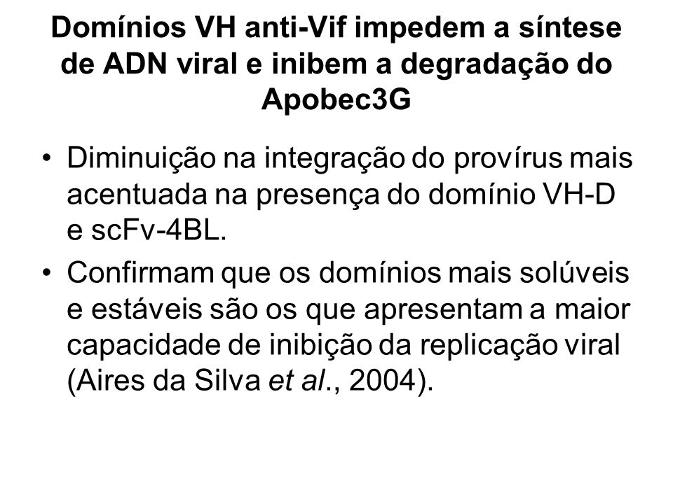 Domínios VH anti-Vif impedem a síntese de ADN viral e inibem a degradação do Apobec3G