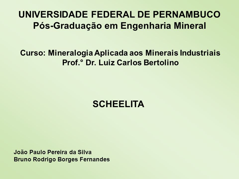 UNIVERSIDADE FEDERAL DE PERNAMBUCO Pós-Graduação em Engenharia Mineral