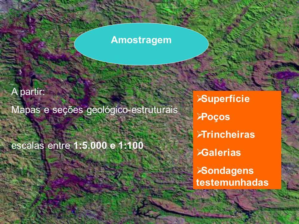 Amostragem A partir: Mapas e seções geológico-estruturais. escalas entre 1:5.000 e 1:100. Superfície.