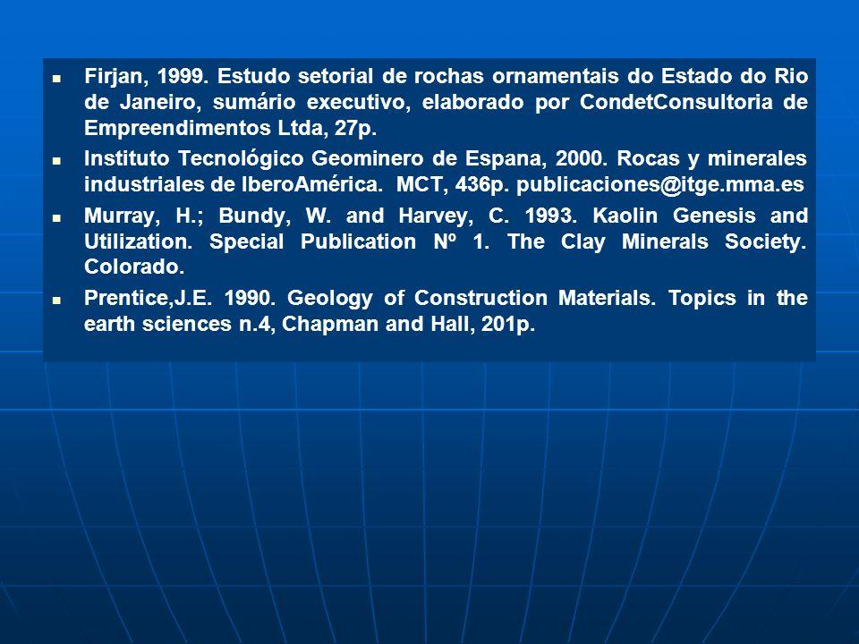 Firjan, 1999. Estudo setorial de rochas ornamentais do Estado do Rio de Janeiro, sumário executivo, elaborado por CondetConsultoria de Empreendimentos Ltda, 27p.