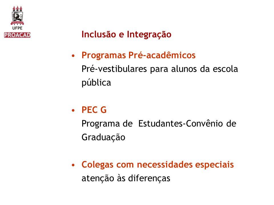 Inclusão e Integração Programas Pré-acadêmicos. Pré-vestibulares para alunos da escola pública. PEC G.