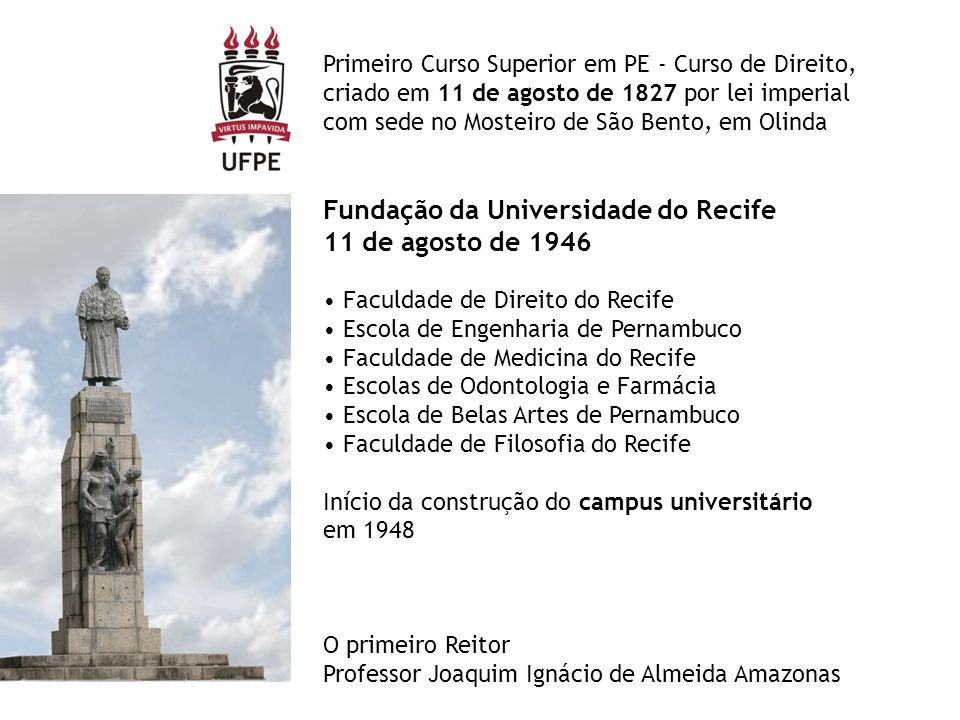 Fundação da Universidade do Recife 11 de agosto de 1946