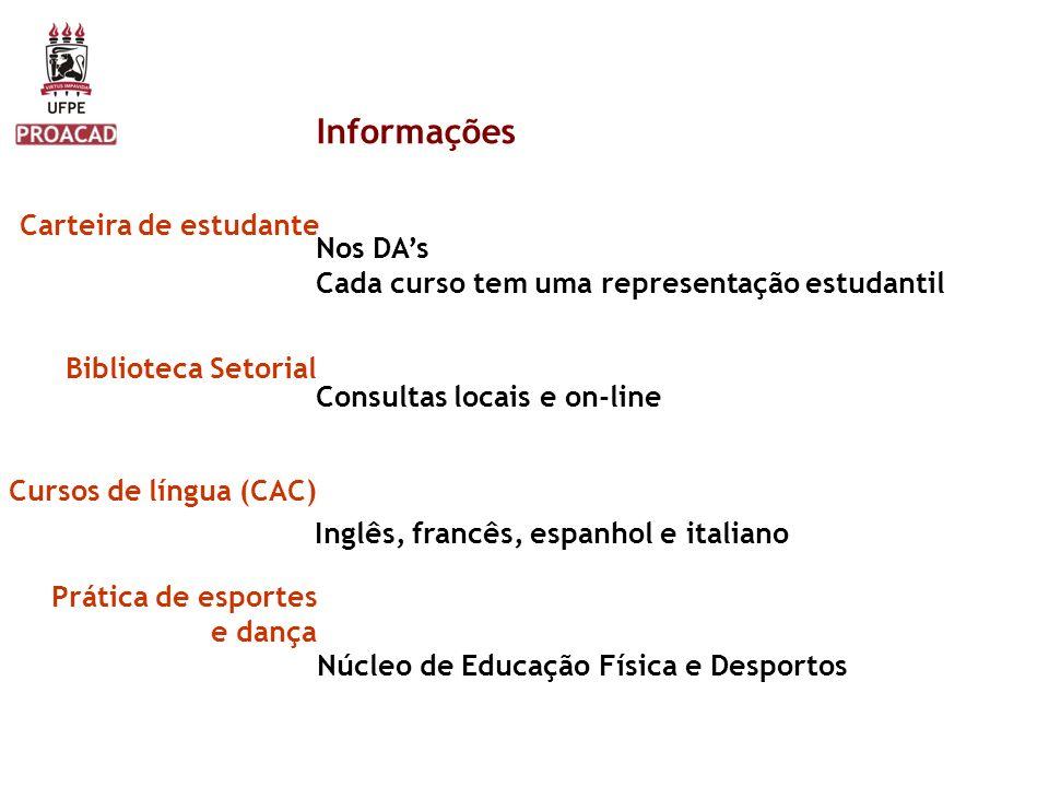 Informações Carteira de estudante Nos DA's