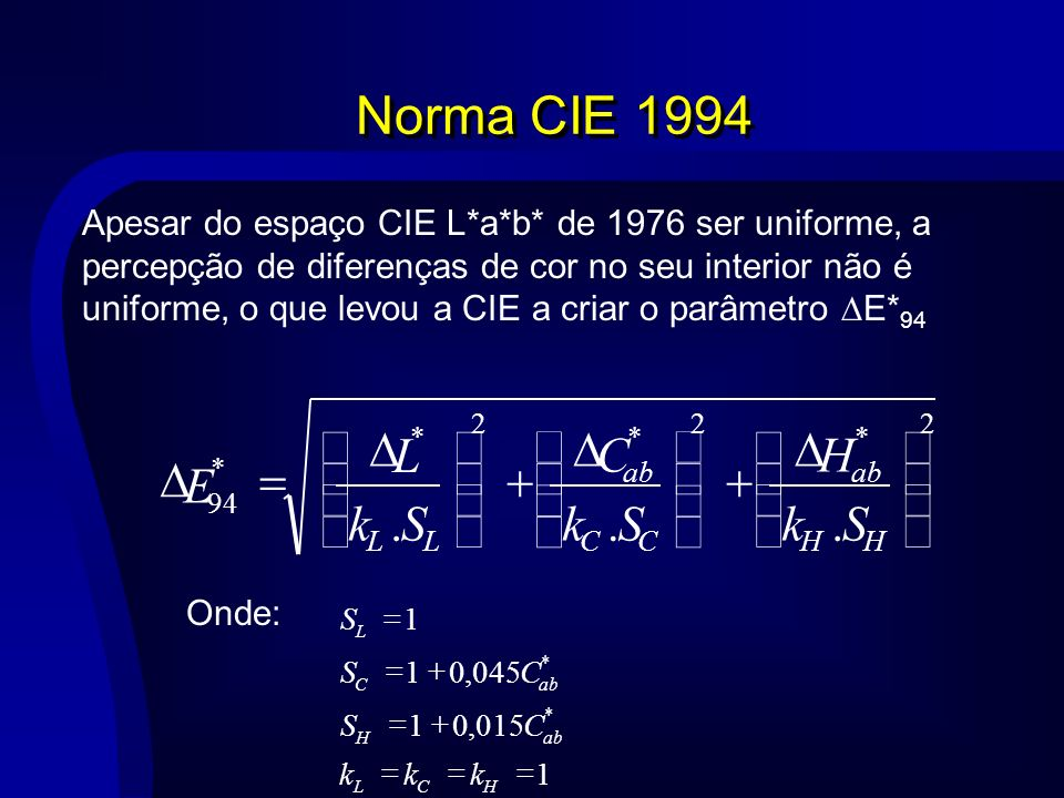 Norma CIE 1994 . ÷ ø ö ç è æ D + = S k E