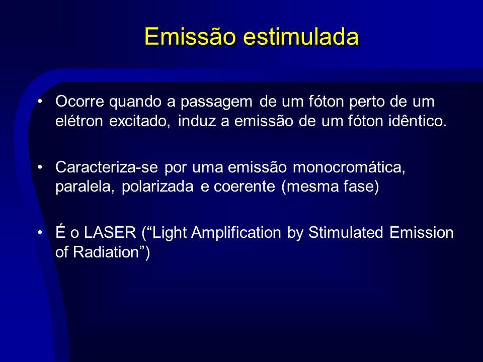 Emissão estimulada Ocorre quando a passagem de um fóton perto de um elétron excitado, induz a emissão de um fóton idêntico.