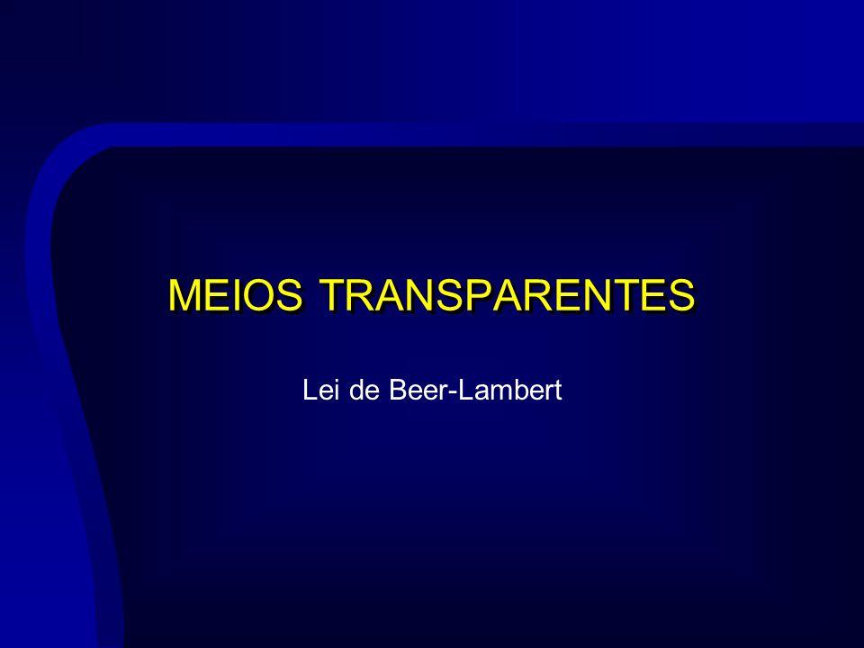 MEIOS TRANSPARENTES Lei de Beer-Lambert