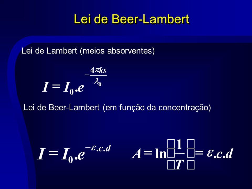 e I = . e I = d c T A . 1 ln e = ÷ ø ö ç è æ Lei de Beer-Lambert d c .