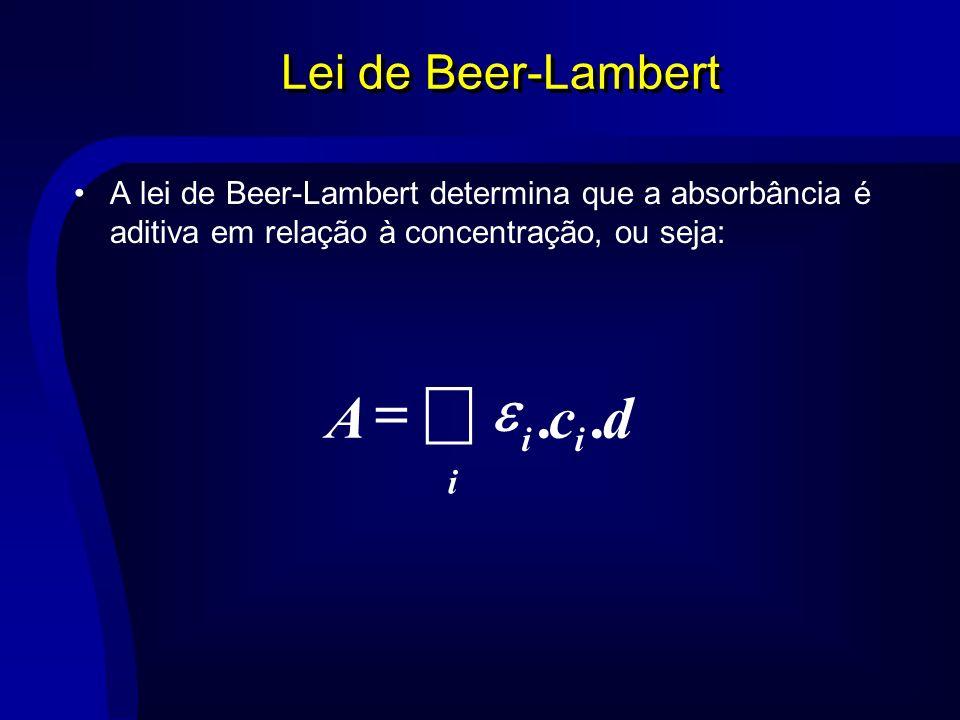 å = d c A . e Lei de Beer-Lambert i
