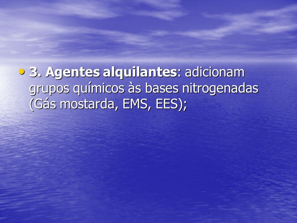 3. Agentes alquilantes: adicionam grupos químicos às bases nitrogenadas (Gás mostarda, EMS, EES);