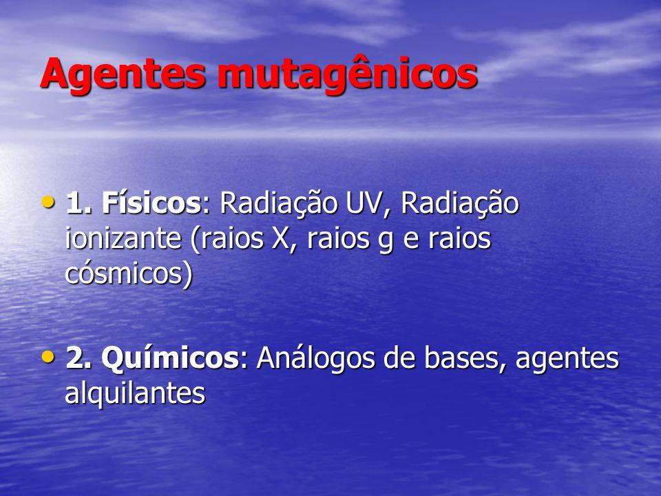 Agentes mutagênicos 1. Físicos: Radiação UV, Radiação ionizante (raios X, raios g e raios cósmicos)