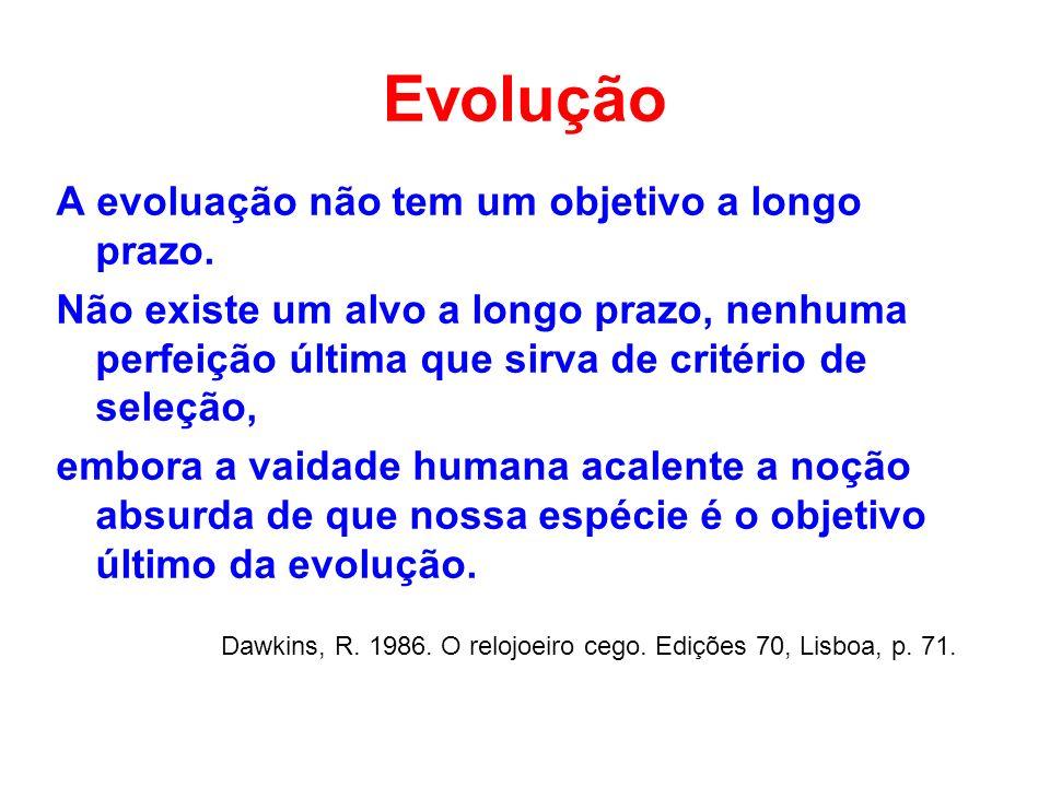 Evolução A evoluação não tem um objetivo a longo prazo.