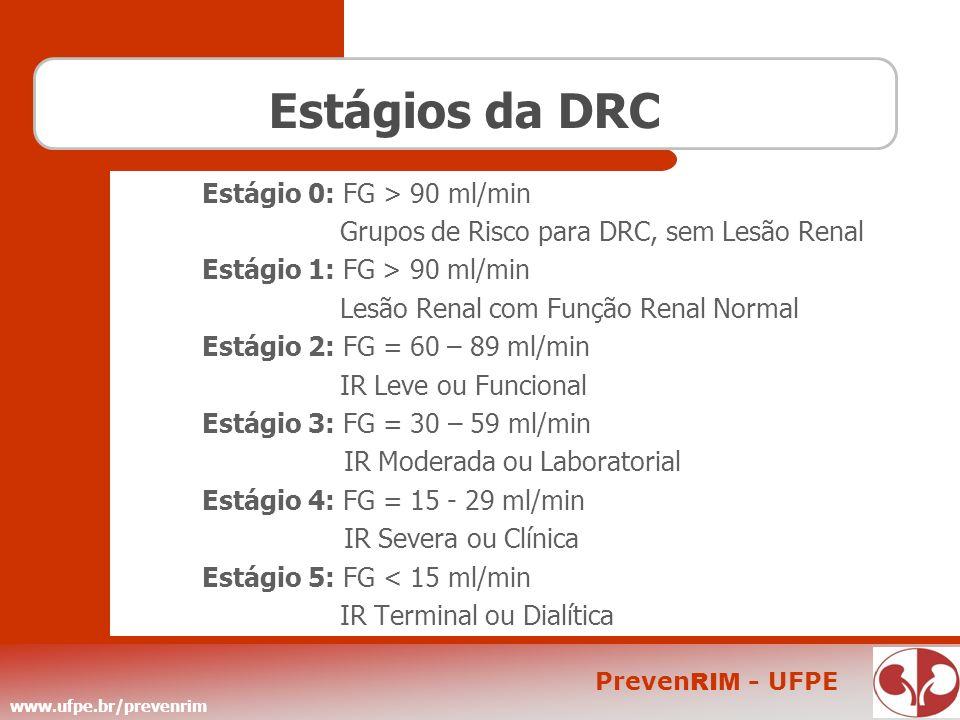 Estágios da DRC Estágio 0: FG > 90 ml/min