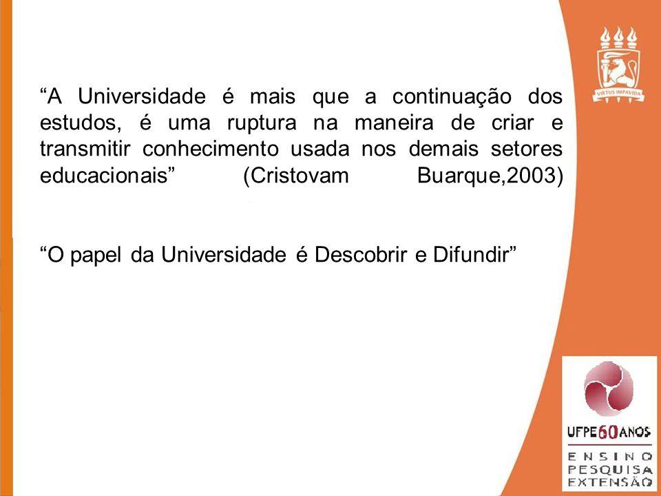 A Universidade é mais que a continuação dos estudos, é uma ruptura na maneira de criar e transmitir conhecimento usada nos demais setores educacionais (Cristovam Buarque,2003) O papel da Universidade é Descobrir e Difundir
