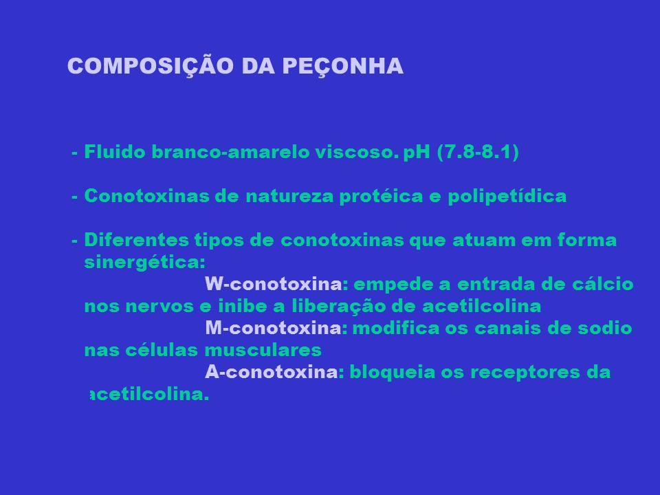 COMPOSIÇÃO DA PEÇONHA - Fluido branco-amarelo viscoso. pH (7.8-8.1)