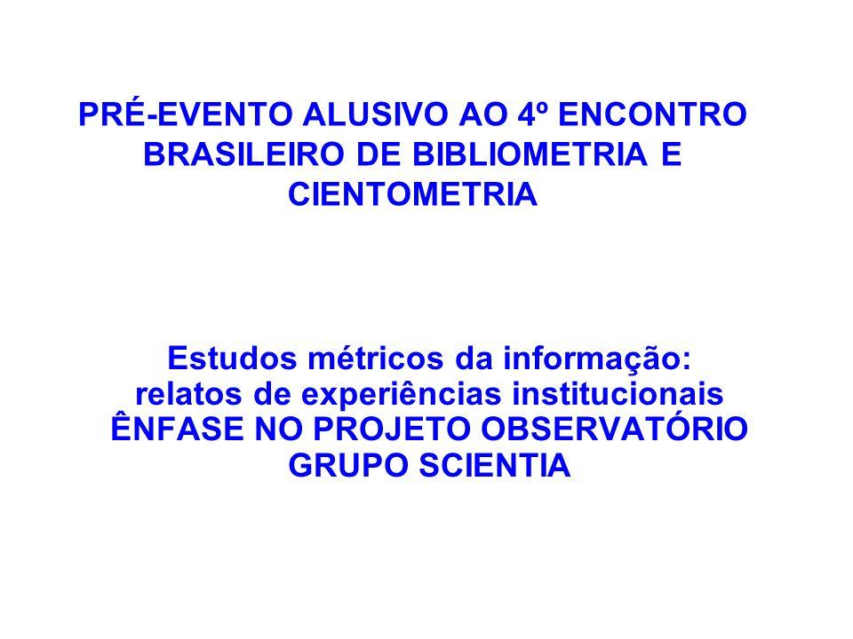 Estudos métricos da informação: relatos de experiências institucionais