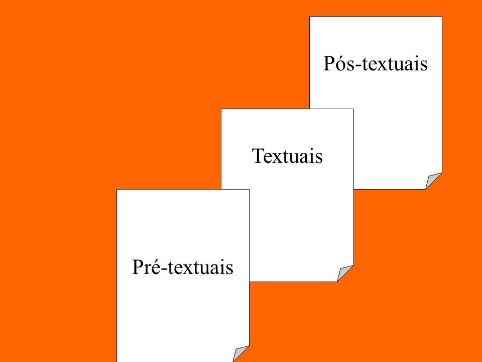 Pós-textuais Textuais Pré-textuais