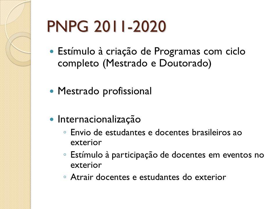 PNPG 2011-2020 Estímulo à criação de Programas com ciclo completo (Mestrado e Doutorado) Mestrado profissional.