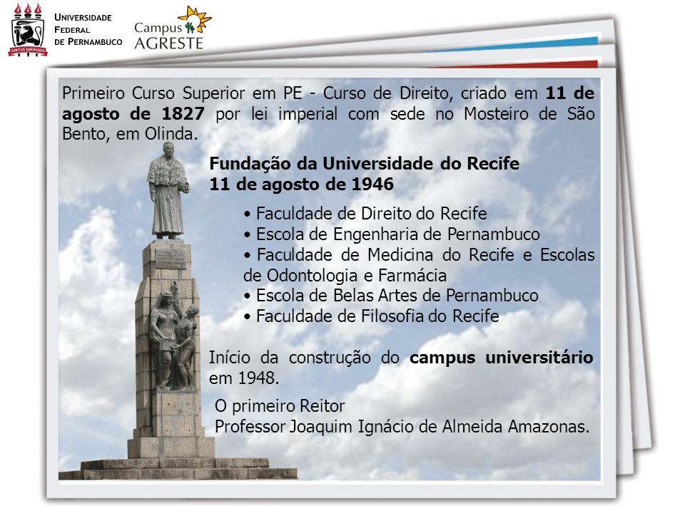 Primeiro Curso Superior em PE - Curso de Direito, criado em 11 de agosto de 1827 por lei imperial com sede no Mosteiro de São Bento, em Olinda.