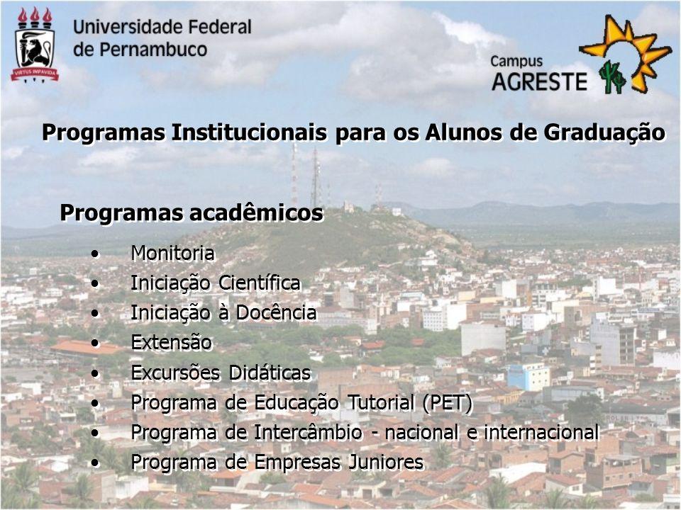 Programas Institucionais para os Alunos de Graduação