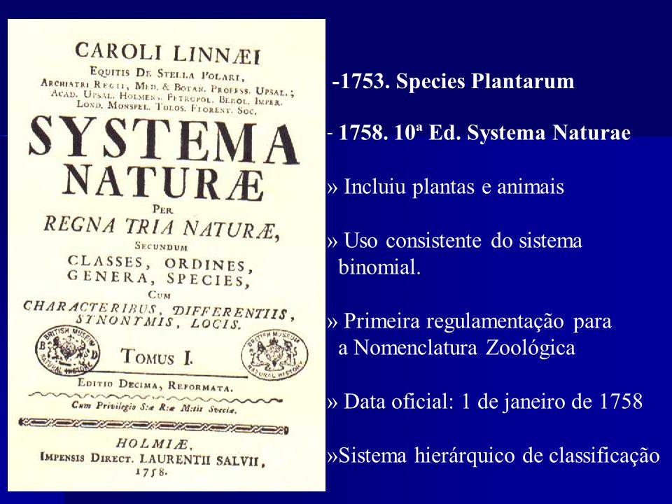 » Incluiu plantas e animais » Uso consistente do sistema binomial.