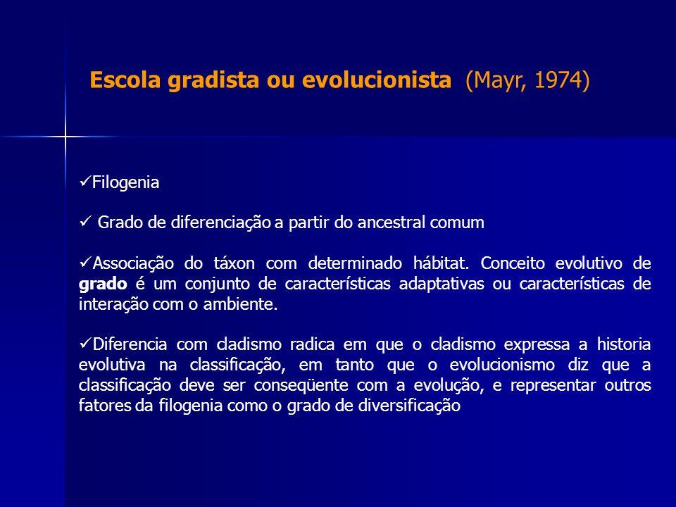 Escola gradista ou evolucionista (Mayr, 1974)